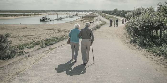 Ageing, elderly couple on a walk