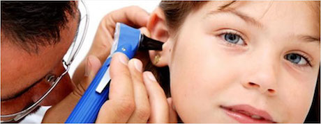 Hearing, doctor checking Childs ear