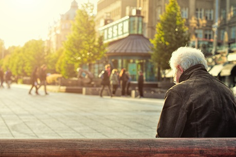 PACE, old man sitting on a bench
