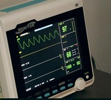 Vitals monitor showing a heart rate